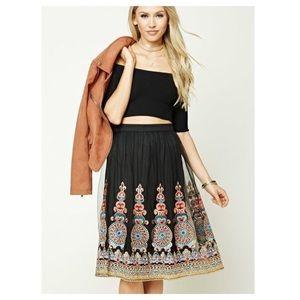 Forever 21 Ornate Embroidered Tulle Skirt M
